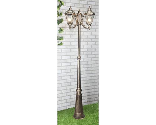 уличный трехрожковый светильник на столбе Capella F/3 черное золото