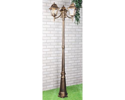 уличный трехрожковый светильник на столбе Altair F/3 черное золото