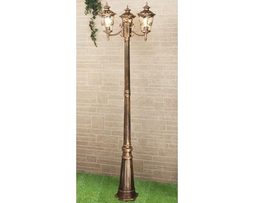 Diadema F/3 черное золото уличный трехрожковый светильник на столбе GLYF-8046F/3