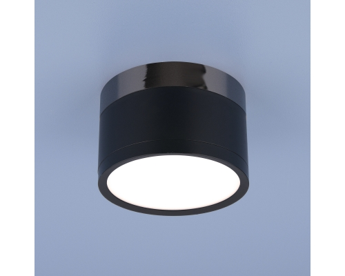 Накладной потолочный  светодиодный светильник DLR029 10W 4200K черный матовый/черный хром